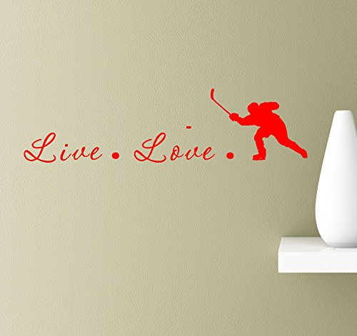 Truck Backhand (#2 Live love hockey puck ice skate cross check fighting backhand wall art quotes sayings vinyl decals home inspirational love bible sticker (Red))