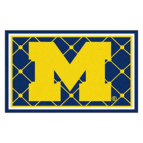 FANMATS NCAA University of Michigan Wolverines Nylon Face 4X6 Plush Rug by Fanmats