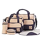 ANSAN 5-in-1 5 pcs Baby Changing Diaper Nappy Bag Tote Mummy Mother Multifunctional Handbag Mummy Package DarkBlue