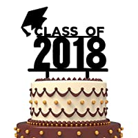 FishMM Acrylic Graduation Class of 2018 Cake Toppers Party Decorations Supplies