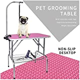"""LEIBOU Pet Dog Grooming Table Foldable Grooming Table Heavy Duty Stainless Steel Frame with Arm & Noose & Mesh Tray for Dog Cat Pet Grooming Pink(32"""" x 20"""" x 30'')"""