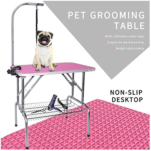 "LEIBOU Pet Dog Grooming Table Foldable Grooming Table Heavy Duty Stainless Steel Frame with Arm & Noose & Mesh Tray for Dog Cat Pet Grooming Pink(32″ x 20″ x 30"")"