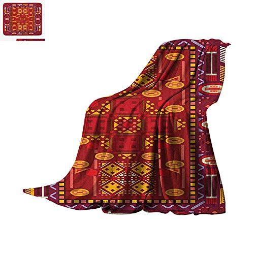 (Afghan Lightweight Blanket Afghan Pattern with Eastern Folklore Inspirations Geometric Shapes in Warm Colors Velvet Plush Throw Blanket 60