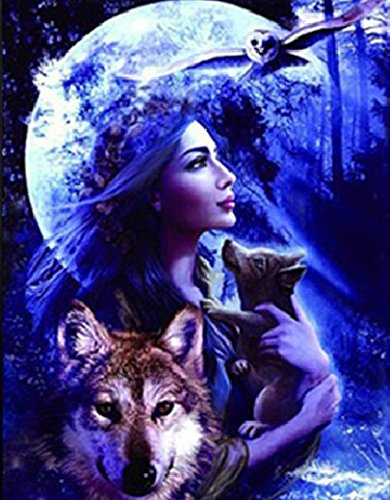 Those Flipping Pictures Wolf Princess 3D UNFRAMED Holographic Wall Art-Lenticular Technology Causes The Artwork to Have Depth and Move-Hologram Style Images-Holographic Optical Illusions ()