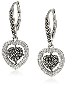 """Judith Jack """"Angelic"""" Sterling Silver, Marcasite and Crystal Heart Drop Earrings"""