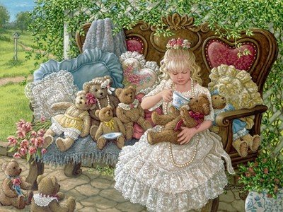 ししゅう糸 DMC糸 クロスステッチ刺繍キット 布地に図柄印刷 女の子とリトルベアー (B) B01N5U1N1R B