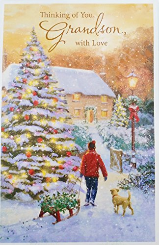 Thinking of You Grandson with Love - Merry Christmas Greeting Card -