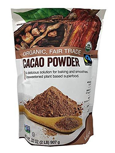 Volupta Organic & Fair Trade Unsweetened Super Food Cacao Powder 32 oz (2 Pack)