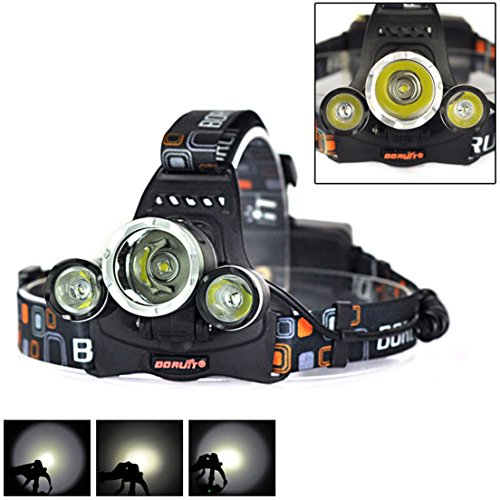 (1 Set 6000 Lumen LED Headlamp Color Black Headlight Flashlight Night Light Distinguished with Battery USB AC Charger)