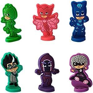 Mini Figuras Pj Masks -Multicolor -para Decorar Tarta de Cumpleaños Infantil - 6 Piezas - 4cm