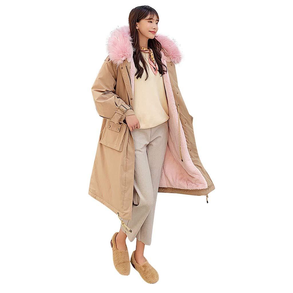 Hli-SHJHsmu Fashion Hooded Sweatshirt Classic Outerwear Long Sleeve Cotton-Padded Pockets Coats (L, Khaki) by Hli-SHJHsmu