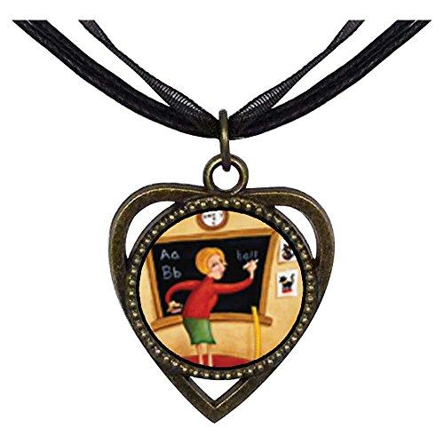 GiftJewelryShop Bronze Retro Style Teacher Using Blackboard Heart Shaped Pendant Charm Necklaces