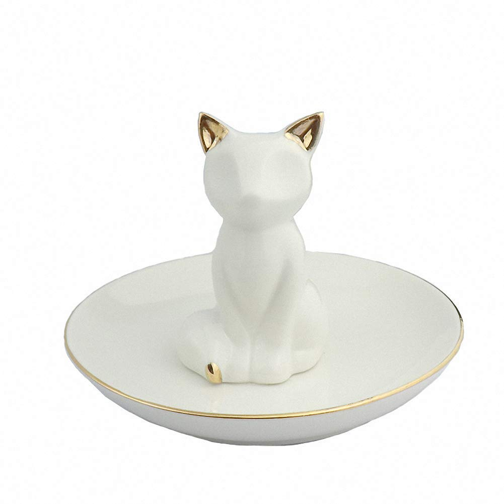 Elegant Fox Ceramic Jewelry Tray Ring Earrings Holder Necklace Crafts Organizer Desk Ornaments Trinkets Tray Dish Plate Storage Stand Display Gift for Daughter Girlfriend Home Decoration, White by LYNK THINGS