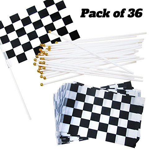 Dazzling Toys 36 Pack Black and White Checkered Racing Flags | Great for: Decorations for Racing, Race Car Party, Sport Events, Theme Party About Racing or Car, and More ()