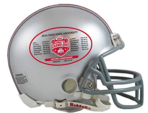 NCAA Ohio State Buckeyes Riddell Mini Replica 2014 National Champ Schedule Helmet, Small, Gray (Mini State Replica Riddell)