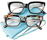 SOOLALA 2-Pair Vintage Stylish 53mm Lens Oversized Reading Glass Big Eyeglass Frame, BlackLeopard, 0.5