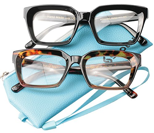 SOOLALA 2-Pair Vintage Stylish 53mm Lens Oversized Reading Glass Big Eyeglass Frame, BlackLeopard, +0.75