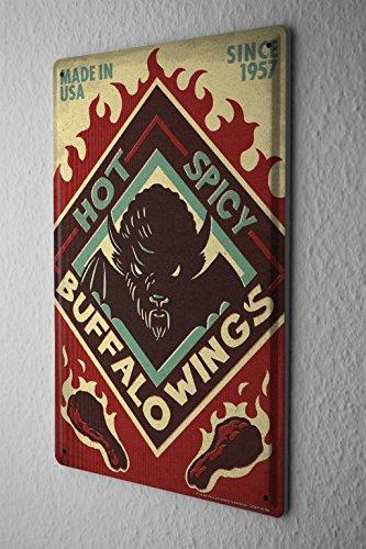 Tin Sign Food Restaurant Buffalo Wings (Sign Tin Wings)