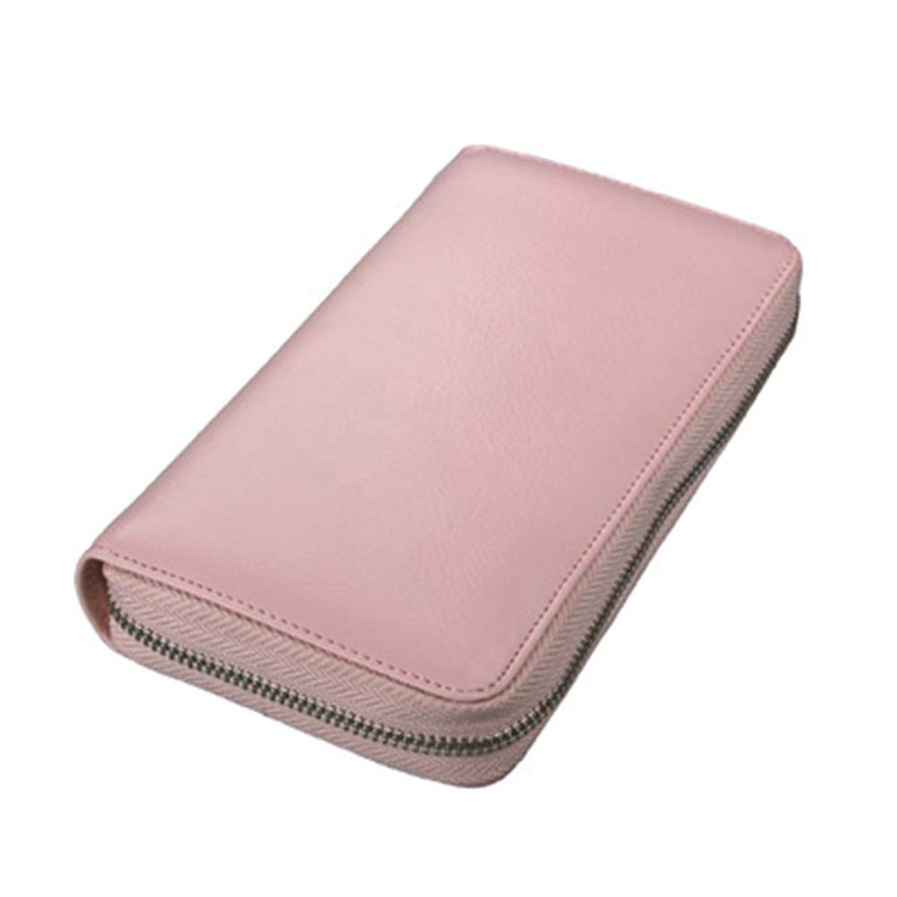 Leather Credit Card Wallet with 36 Slots Phone Holder for Women Men RFID Blocking (Pink)
