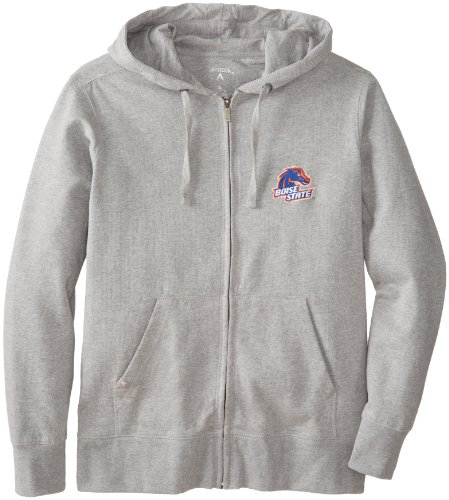 Antigua NCAA Men's Boise State Broncos Full Zip Hoodie (Grey Heather, (Antigua Cotton Sweatshirt)