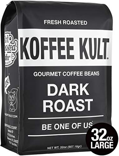 Dark Bean Roast Whole - Koffee Kult Dark Roast Coffee Beans - Highest Quality Gourmet - Whole Bean Coffee - Fresh Roasted Coffee Beans, 32oz