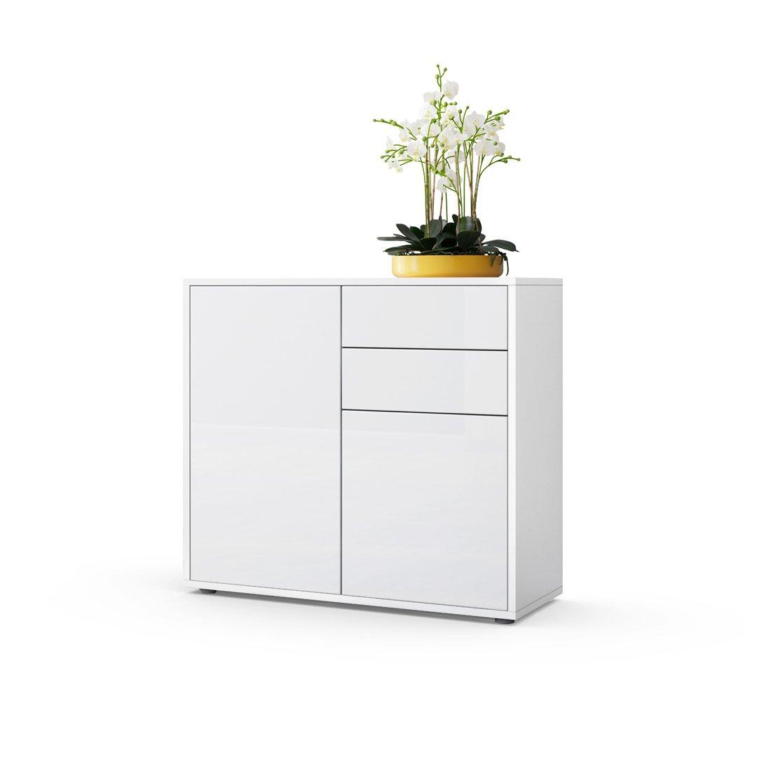 Front in White High Gloss Carcass matt Vladon Cabinet Chest Drawers Ben, Carcass in White matt Front in White matt