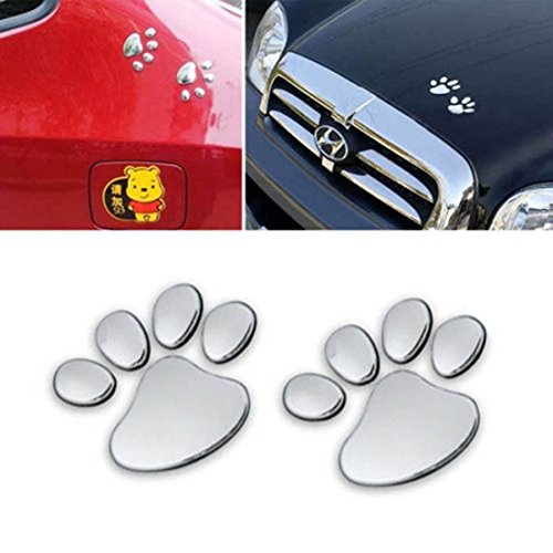 1 Pair Ideal Popular 3D Pets Paw Car Sticker Dog Foot Prints Window Badge Cat Emblem Color Silver