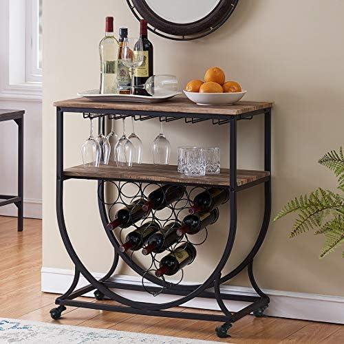 O K FURNITURE Industrial Bar Cart on Wheels for Home, Wine Rack Cart with Glass Holder, Vintage Brown