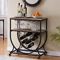 Home Bar Cabinetry O&K FURNITURE Industrial Bar Cart on Wheels for Home, Wine Rack Cart with Glass Holder, Vintage Brown home bar cabinetry