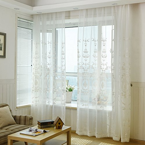WPKIRA European-style Pastoral Linen Embroidered Grommet Top Sheer Curtain Voile Tulle Wide Width Curtain For Living Room Decoration 1 Panel W114 x L84 inch
