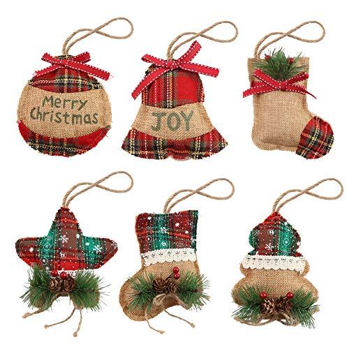 BigOtters Christmas Tree Ornaments Stocking Decoration, 6PCS Christmas Burlap Stocking Ball Tree Bell with Pinecones for Xmas Tree Hanging Holiday Party Decor