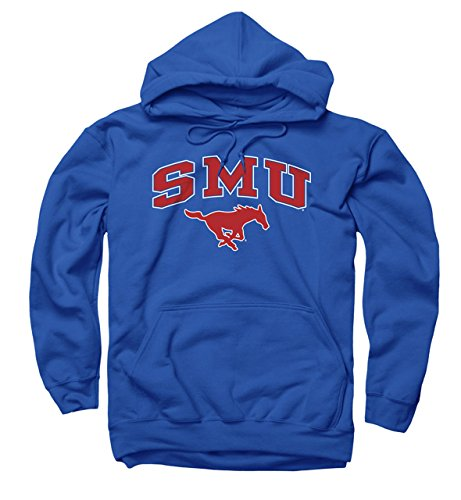 SMU Mustangs Adult Arch and Logo Hooded Sweatshirt - Royal