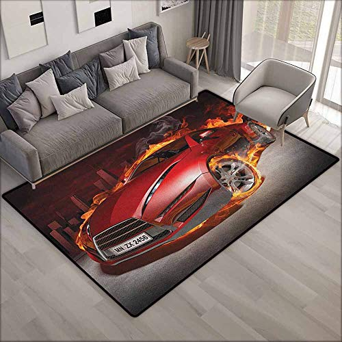 Pet Rug,Cars Red Sports Car Burnout Tires in Flames Blazing Engine Hot Fire Smoke Automobile,Anti-Slip Doormat Footpad Machine Washable,5'10