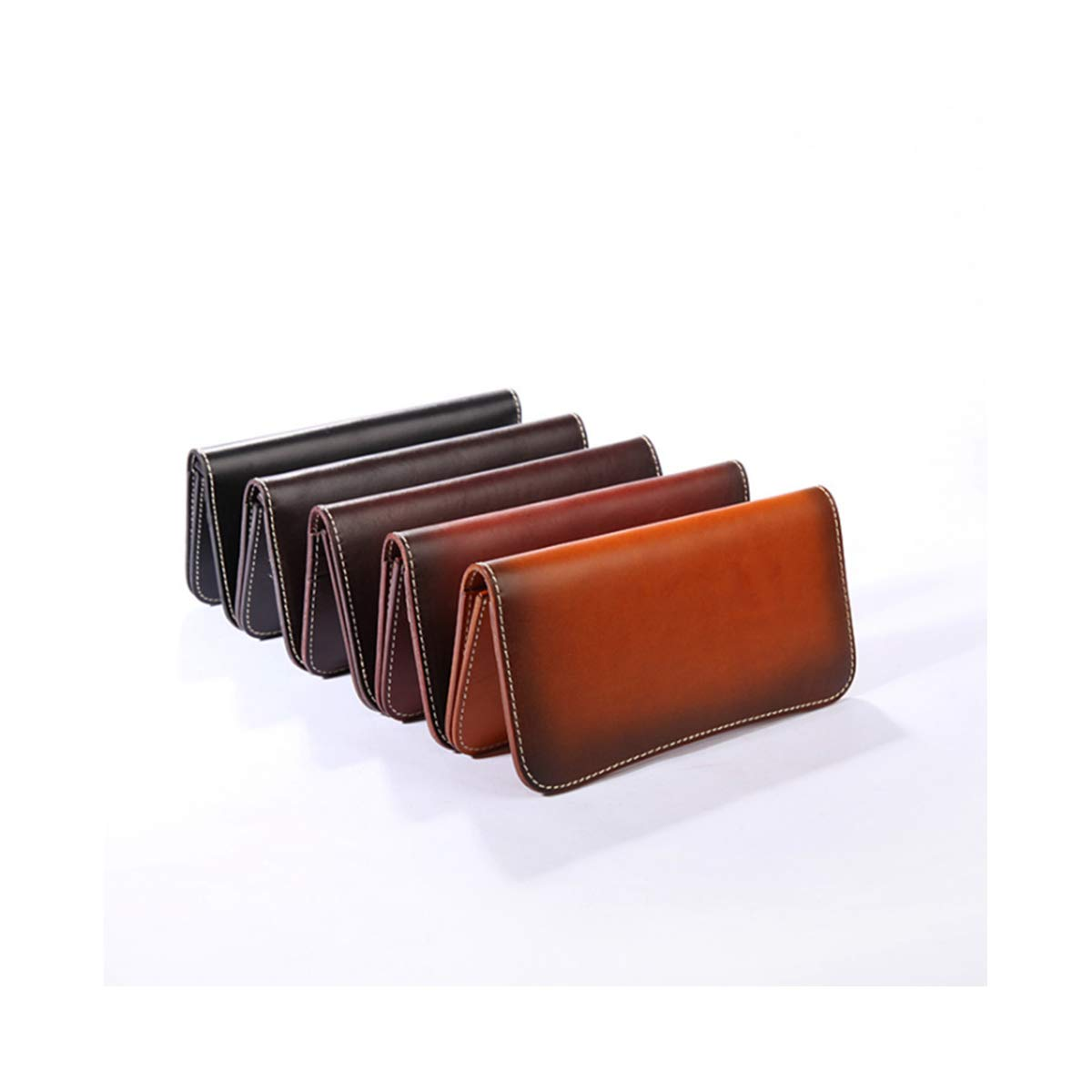 Xingganglengyin 2019 Handmade Leather Vegetable Tanned Long Wallet Leather Wallet Vintage Cross-Border Exclusive Color : Black