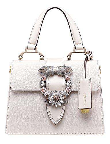 LA'FESTIN Ladies Cute Bags Dazzling Jewels Shoulder Chain Purse Leather (Fluffy White) -