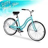 ENSTVER Urban Lady Beach Cruiser Bicycle (Teal Blue w/Black Seat/Grips, 26