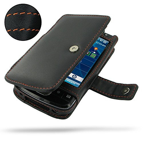 (PDair HP iPAQ 200 Series Leather Flip Pouch (Orange Stitch), Leather Flip Magnetic Function Traditional Design Slim Fit Case - Luxury Leather Book Case for HP iPAQ 200 Series)