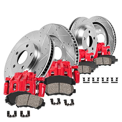 CCK01925 FRONT + REAR Powder Coated Red [4] Calipers + [4] Zinc Plated D/S Rotors + Low Dust [8] Ceramic Pads
