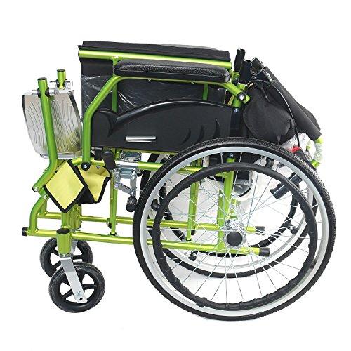 KHL Easy To Carry Light Weight Flip-Up Leg Rest Wheelchair (Green)