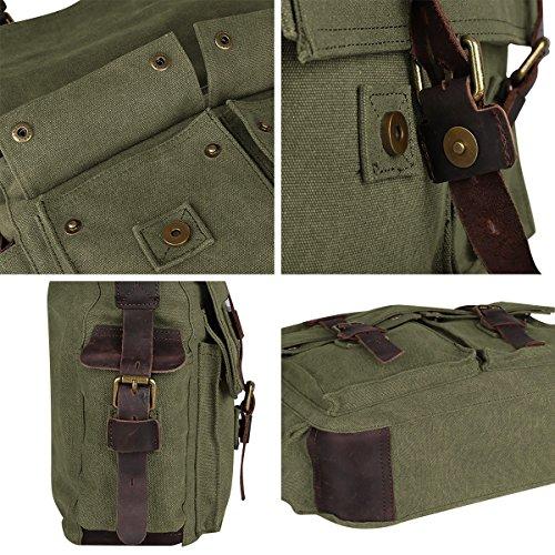 S-ZONE Vintage Canvas Genuine Leather Trim DSLR SLR Camera Shoulder Messenger Bag (Green)