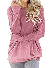 Women Tunic Sweatshirt Pocket Baggy Round Neck Pullover Long Sleeve Shirt Top