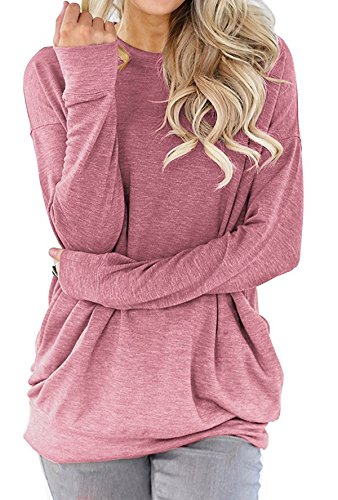 lymanchi Women Tunic Sweatshirt Pocket Baggy Round Neck Pullover Long Sleeve Shirt Top Dark Pink (Pink Womens Pullover)