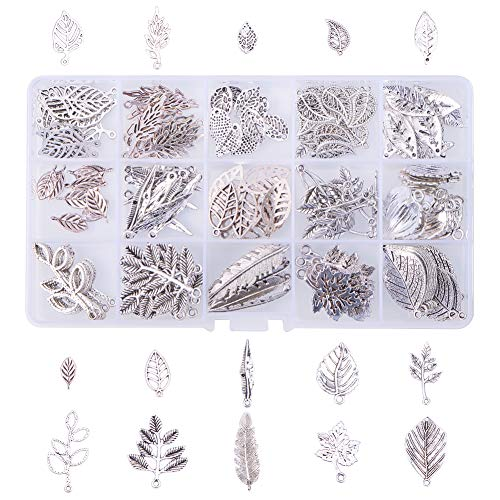 - PH PandaHall 150pcs 15 Style Antique Silver Tree Leaf Tibetan Alloy Charms Pendants Beads Charms for DIY Bracelet Necklace Jewelry Making