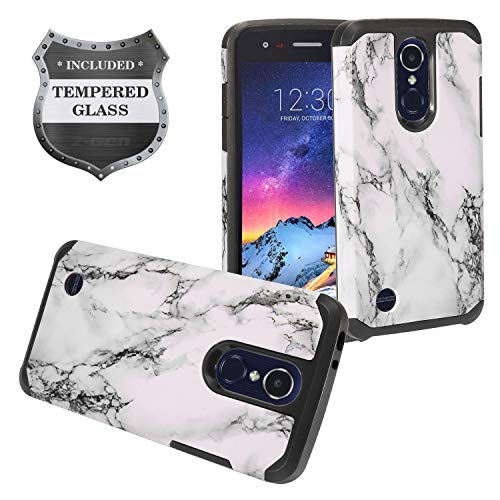 LG Tribute Empire, Tribute Dynasty, Aristo 3/2 /2 Plus, Phoenix 4, Fortune 2, Risio 3, Zone 4, Rebel 4, LG K8S 2019/K8+ - Image Hard Case + Tempered Glass Screen Protector - AD1 White Marble