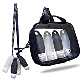 TSA approved Toiletry Bag Squeezable Silicone Travel Bottles Set   Clear Leak Proof Refillable Containers for Liquids (BPA Free, 3.3 OZ)   Toothbrush covers with Hanging Strap   Quart Sized Air Carry-