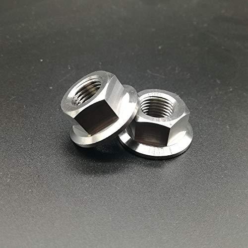 (Nuts 2pcs Titanium Ti M12x1.25 Pitch Sprocket Flange Without Lock Nut Gr.5 6Al/4V M12 Flange Nuts)