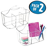 mDesign Office Supplies Desk Organizer Tote for Scissors, Pens, Pencils, Notepads - Pack of 2, Small, Clear