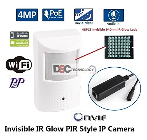 Pir Camera Hidden (4MP Covert IP Camera, PIR Style, with Audio, 48x940nm IR LEDs, IR-Cut, PoE & 12v, ONVIF)