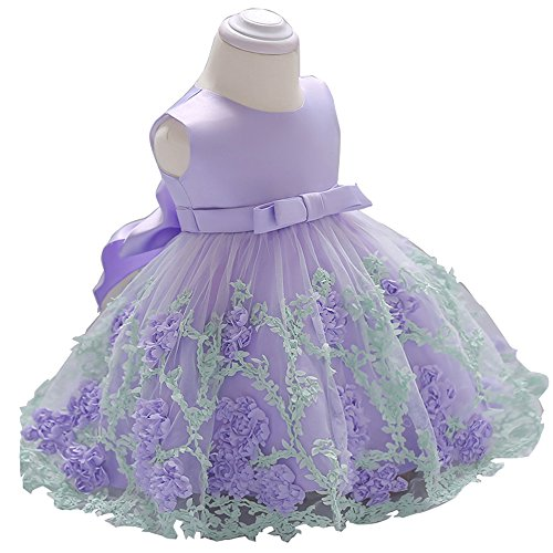 Little Baby Girl Dress Flower Ruffles Party Wedding Pageant Princess Purple Dresses