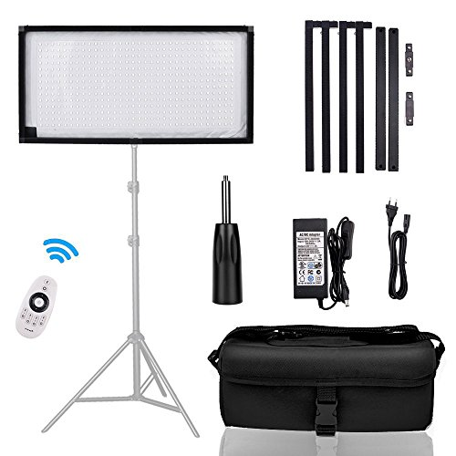 FOSITAN FL-3060 1x2'/30x60cm Daylight LED Light Panel Mat on Fabric, 85W 5500K 448 LED Dimmable Photography Light with Soft Cloth Hand Grip Remote Control and Portable bag by FOSITAN